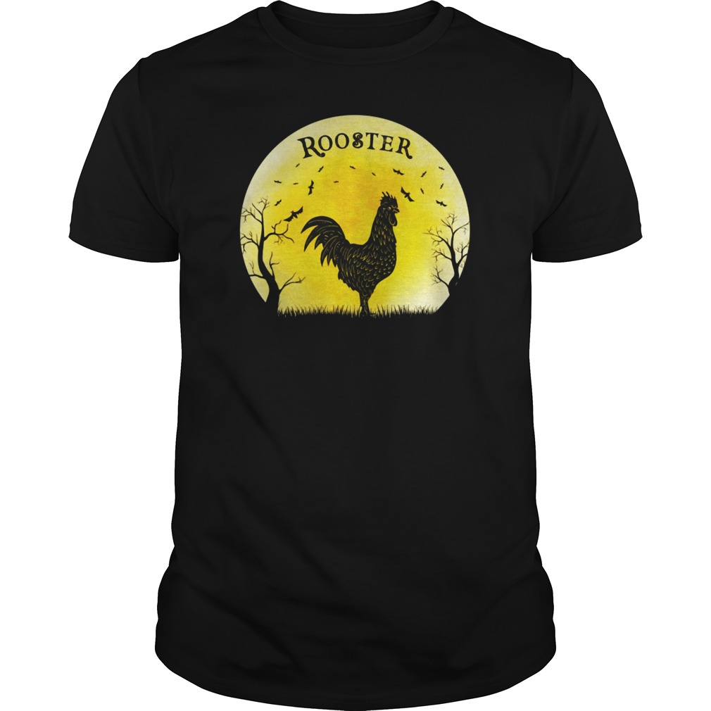 Rooster Halloween Vintage Retro Moon shirt