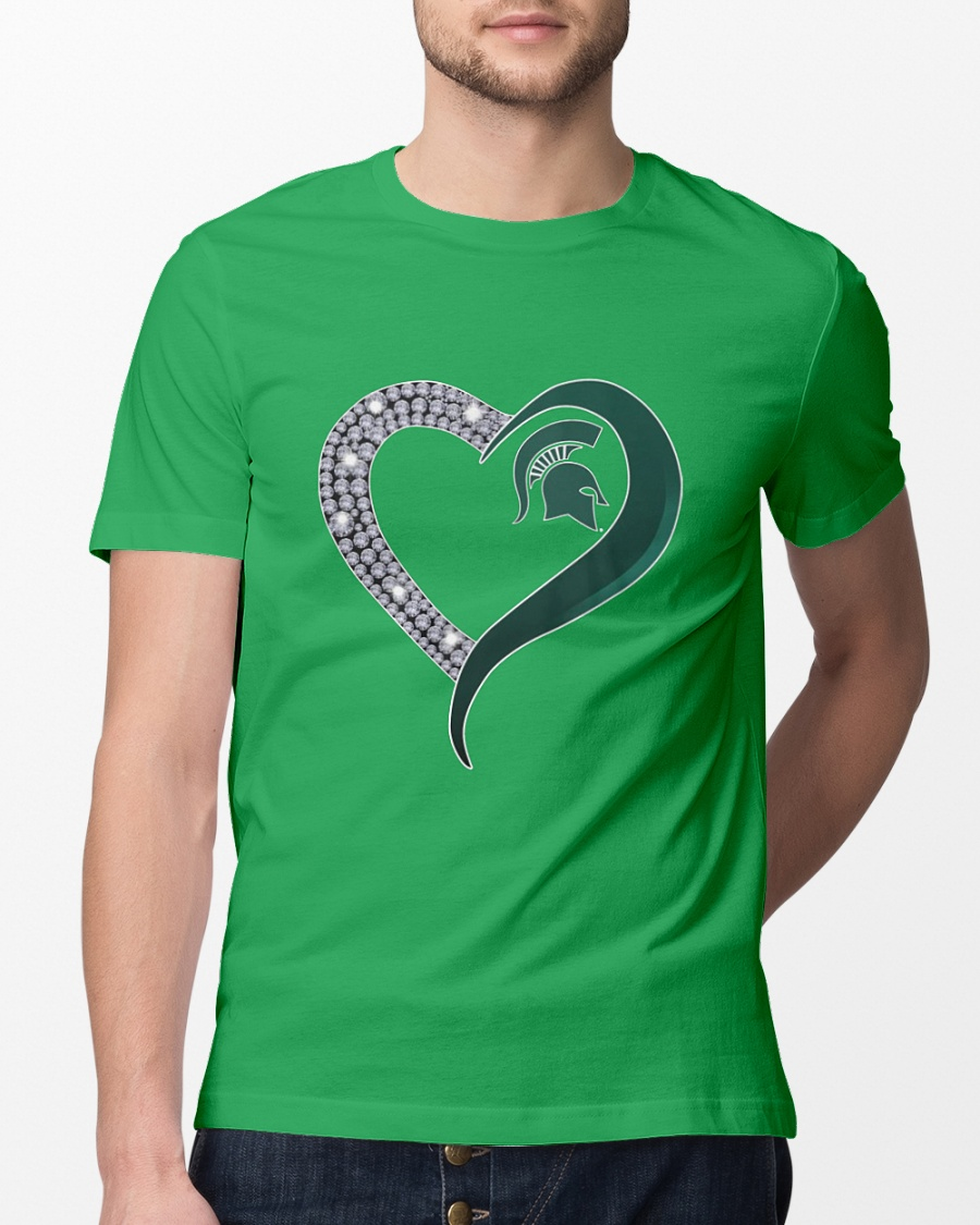 Love Michigan State Spartans diamond heart shirt
