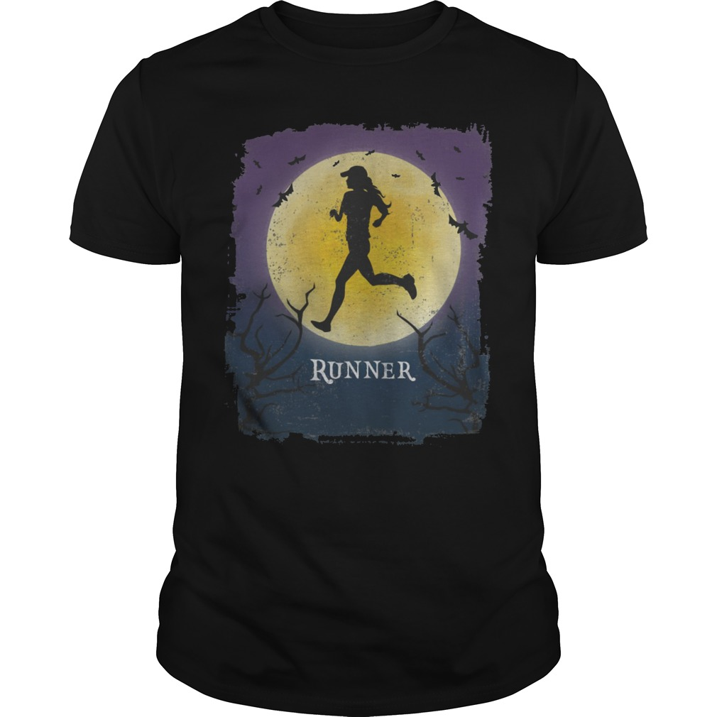 Running Halloween vintage art marathon runner shirt