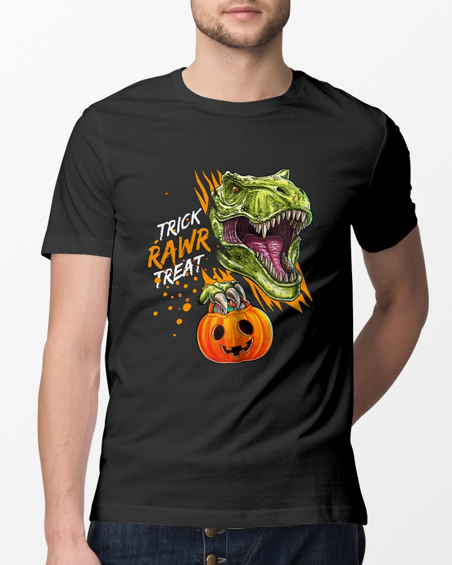 Trick Rawr Treat Halloween Trex Dinosaur Pumpkin Shirt
