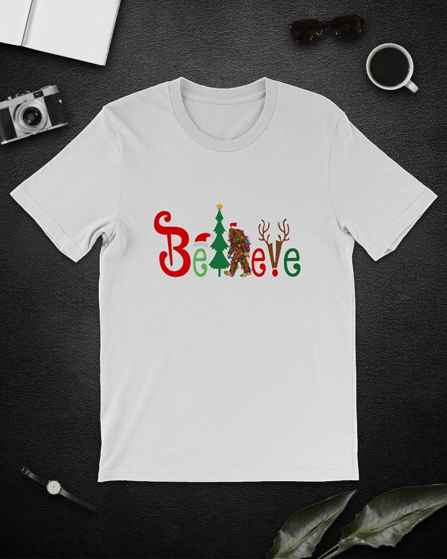Bigfoot Believe Christmas hat deer shirt