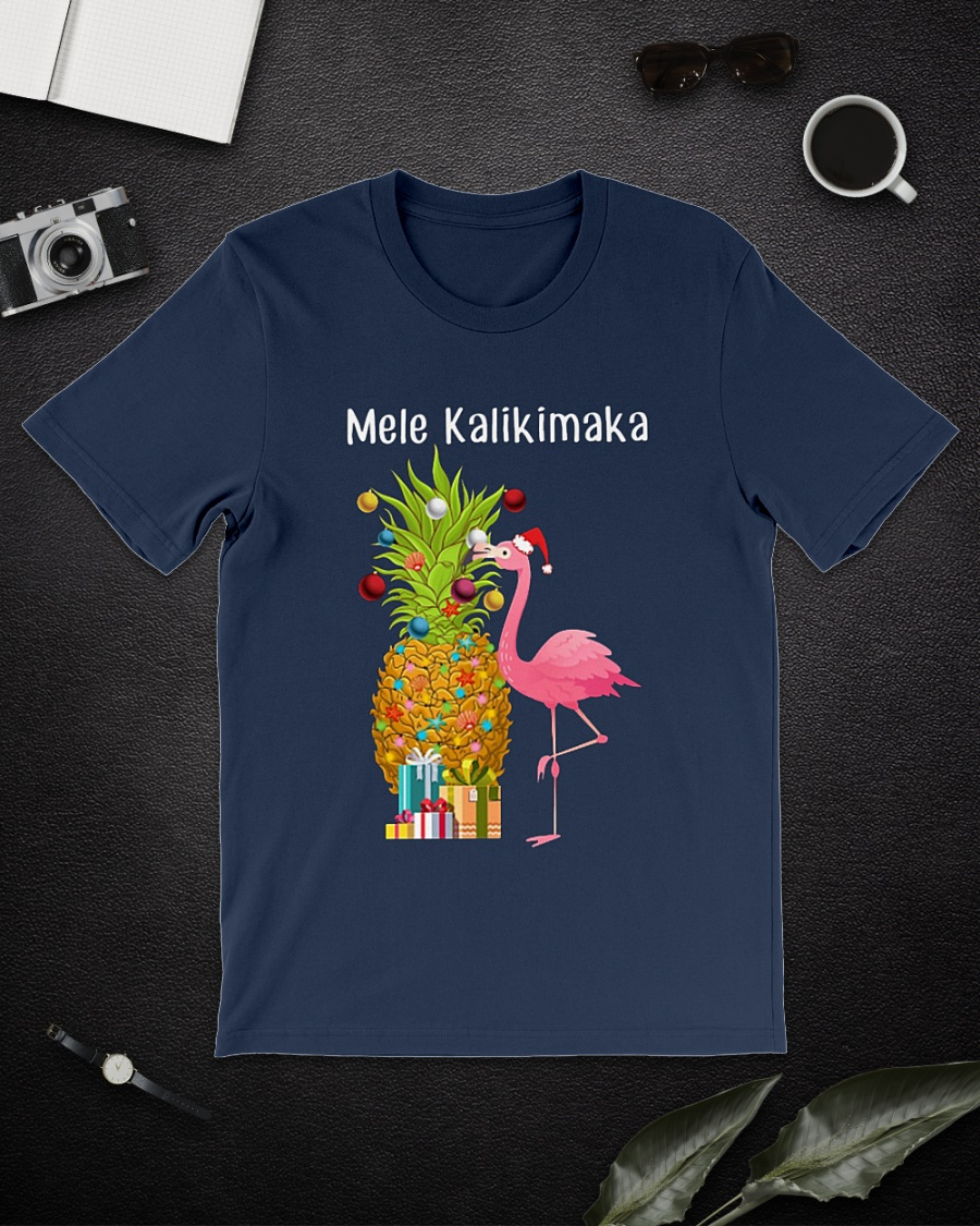 Flamingo Pineapple Mele Kalikimaka Christmas shirt