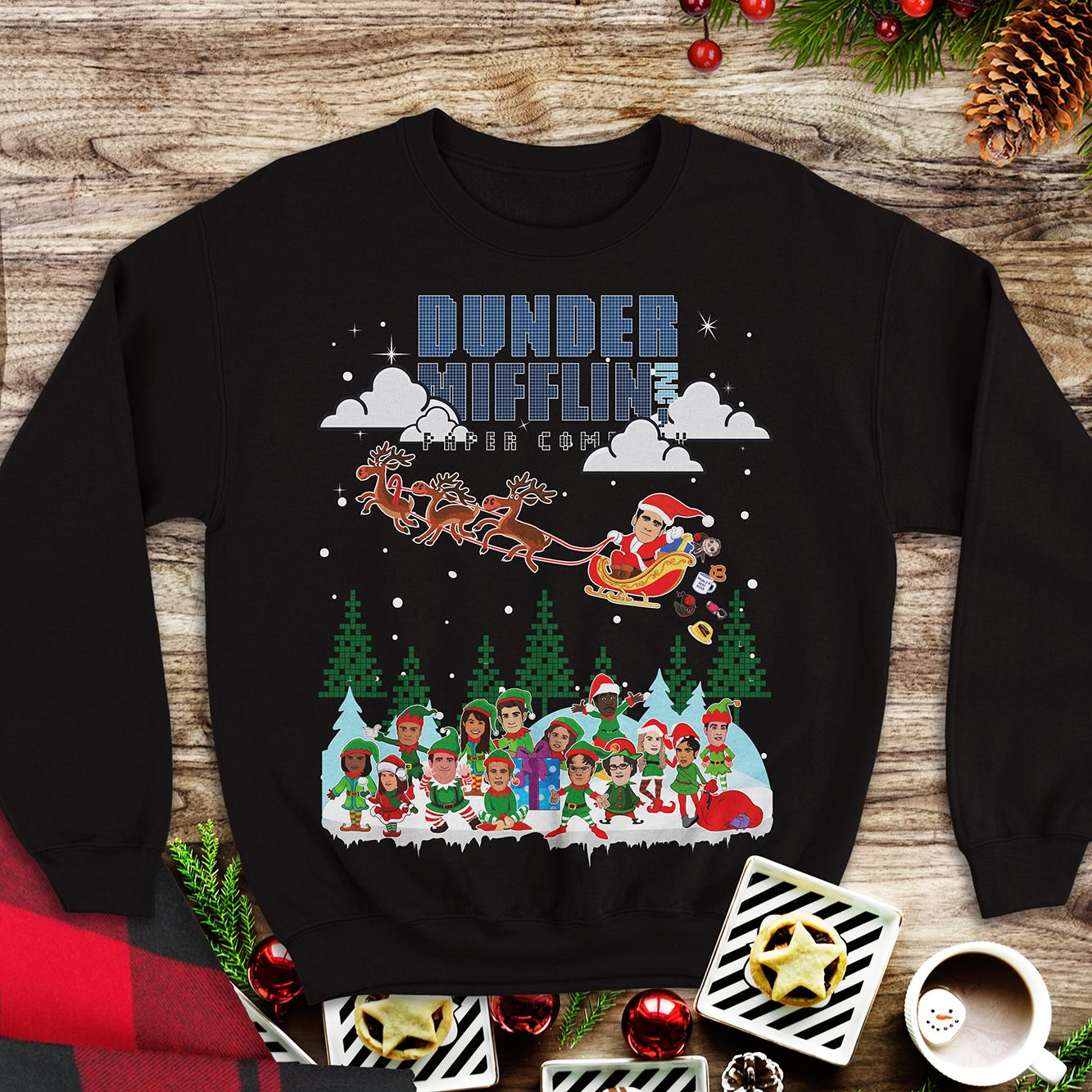 Official NBC the office Dunder Mifflin Ugly Christmas shirt and hoodie