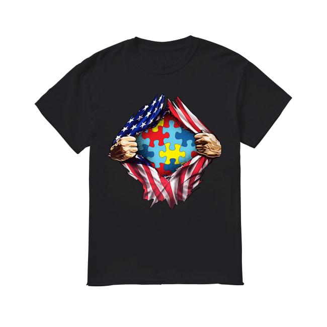 Autism awareness American flag inside me shirt
