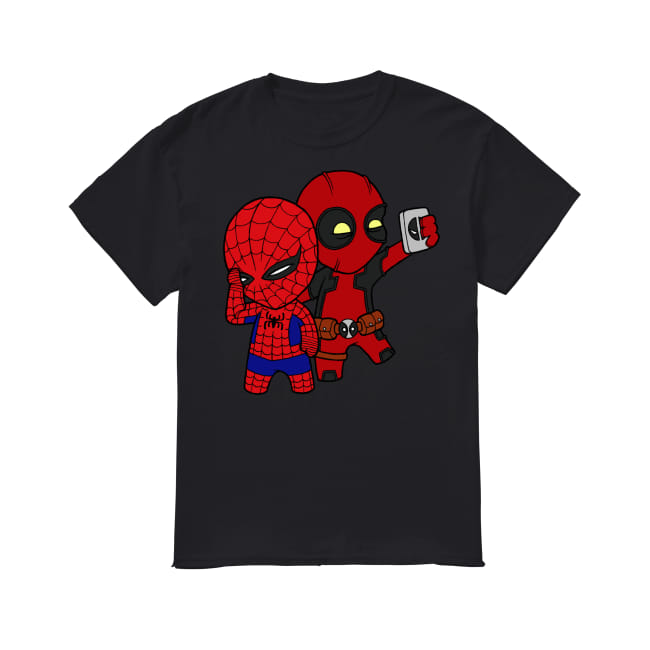 Baby Deadpool and Spiderman shirt