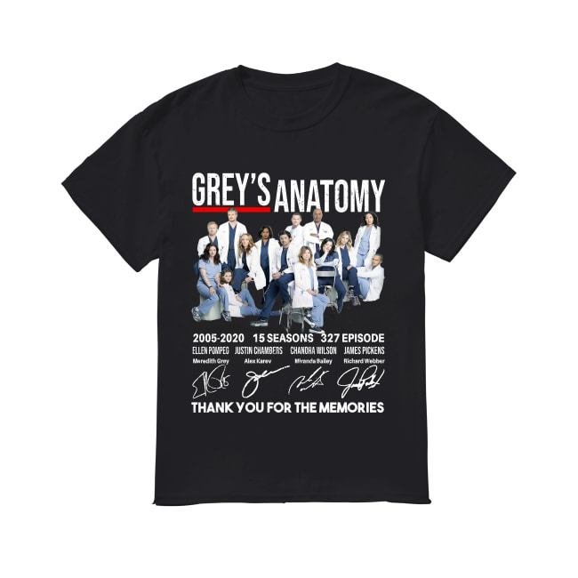 Grey's Anatomy 15 seasons thank you for memories shirt
