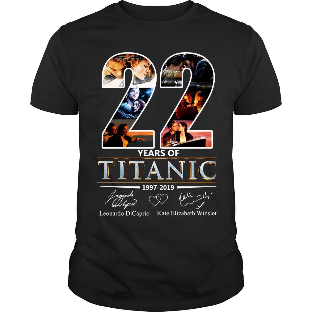 Leonardo Dicaprio and Kate Elizabeth Winslet 22 Years of Titanic 1997 - 2019 shirt