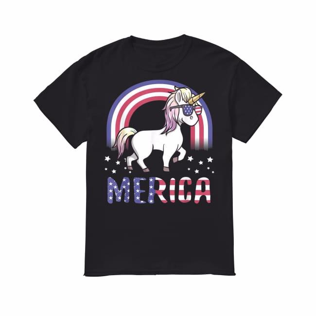 Merica Unicorn Patriotic USA Flag 4th of July American shirt