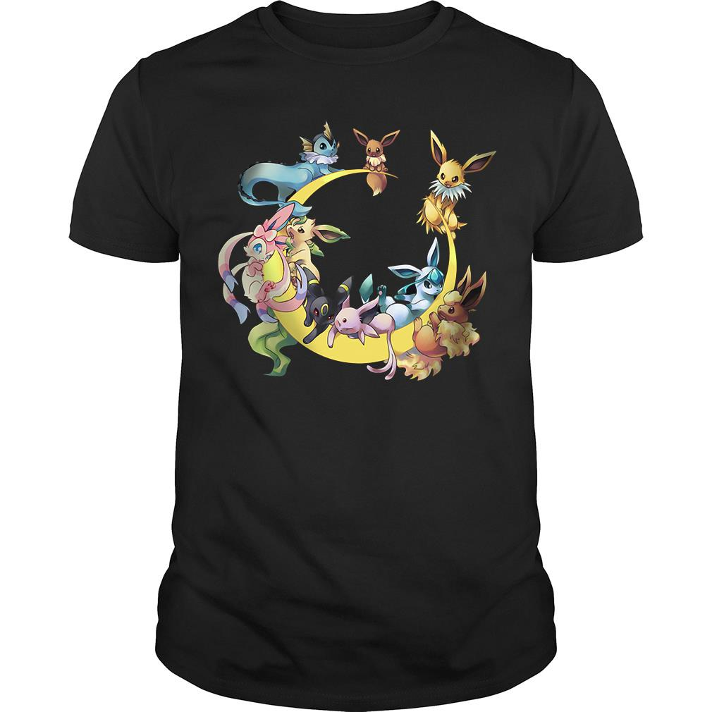 Pokemons Character In Moon Shirt