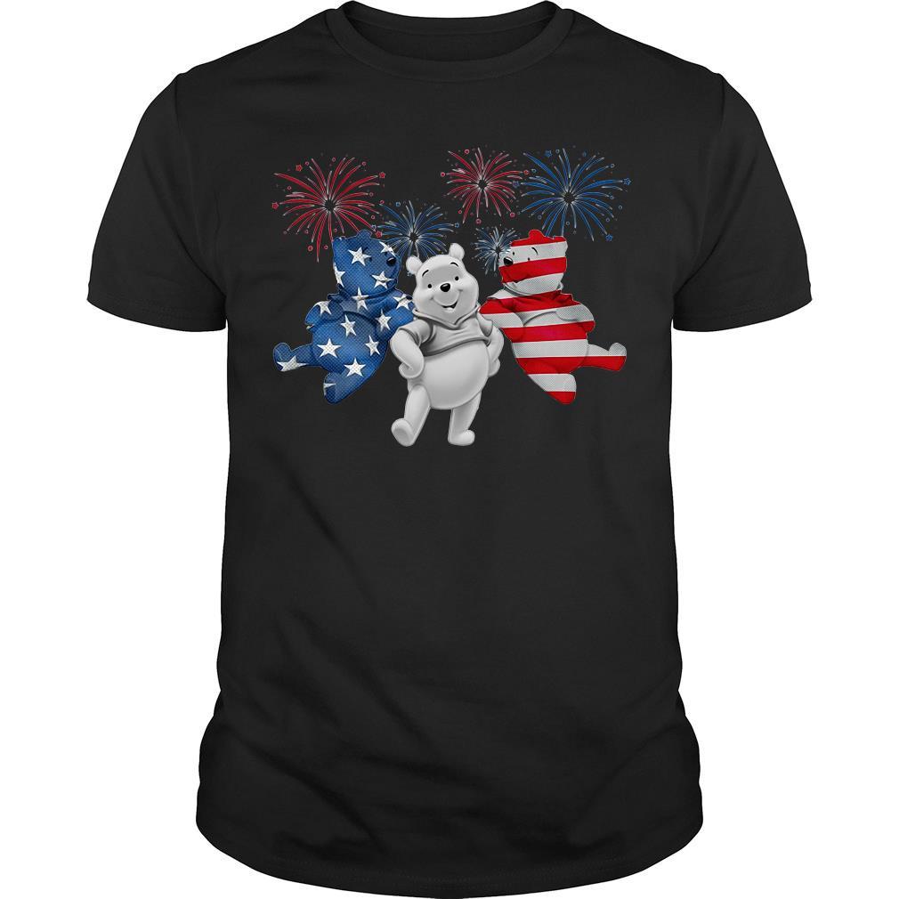 Three Pooh Bear American Flag Shirt