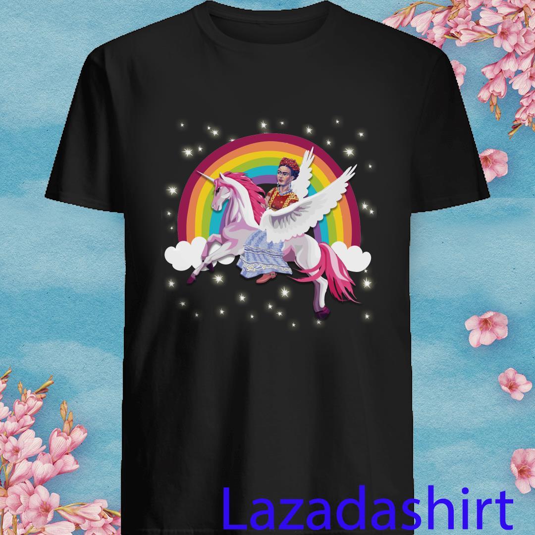 Frida Kahlo Riding Unicorn Fly Rainbow Shirt
