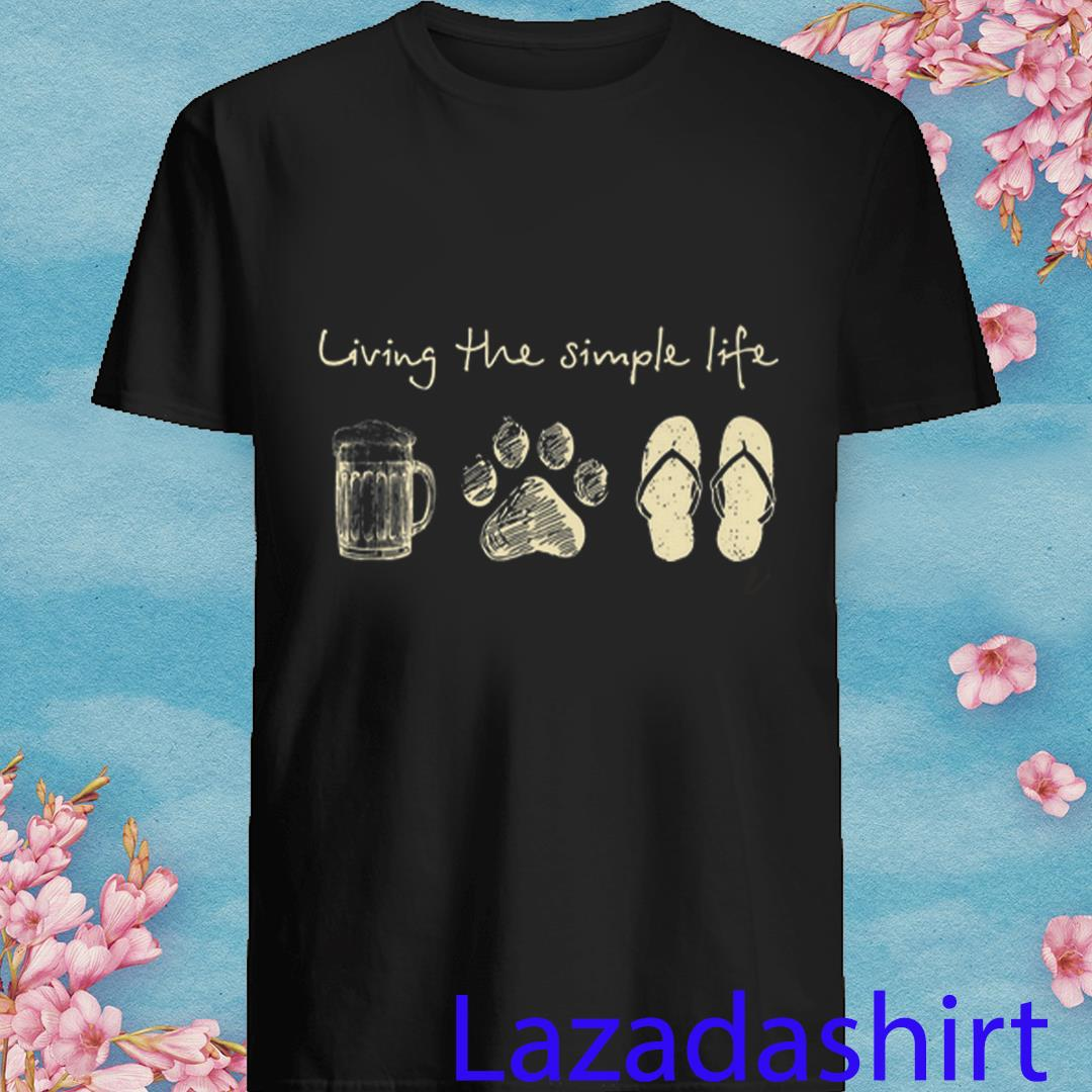 Living The Simple Life Beer Dog Flip Flops Shirt