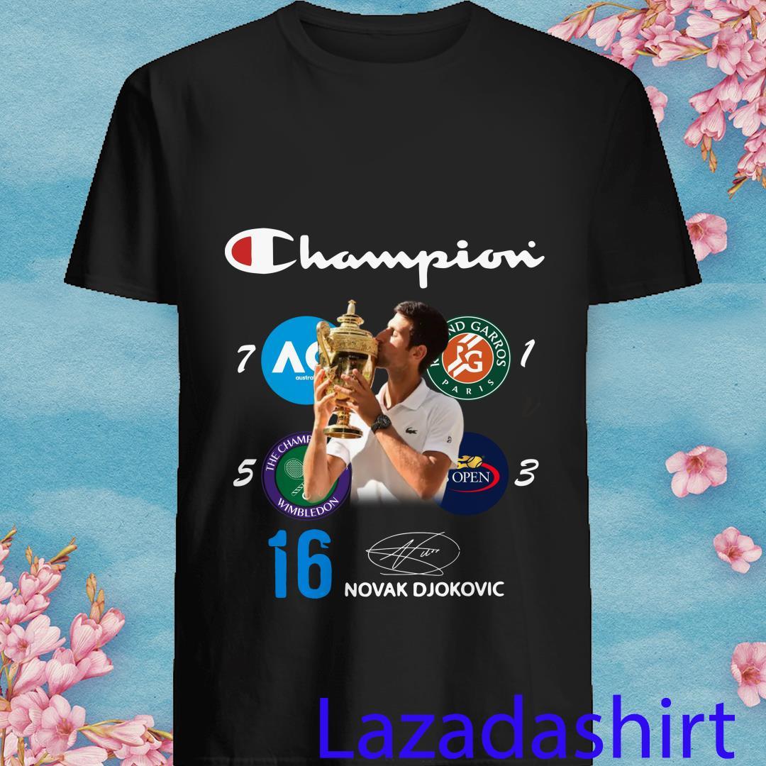 Novak Djokovic Champion 16 Grand Slam Signed Shirt