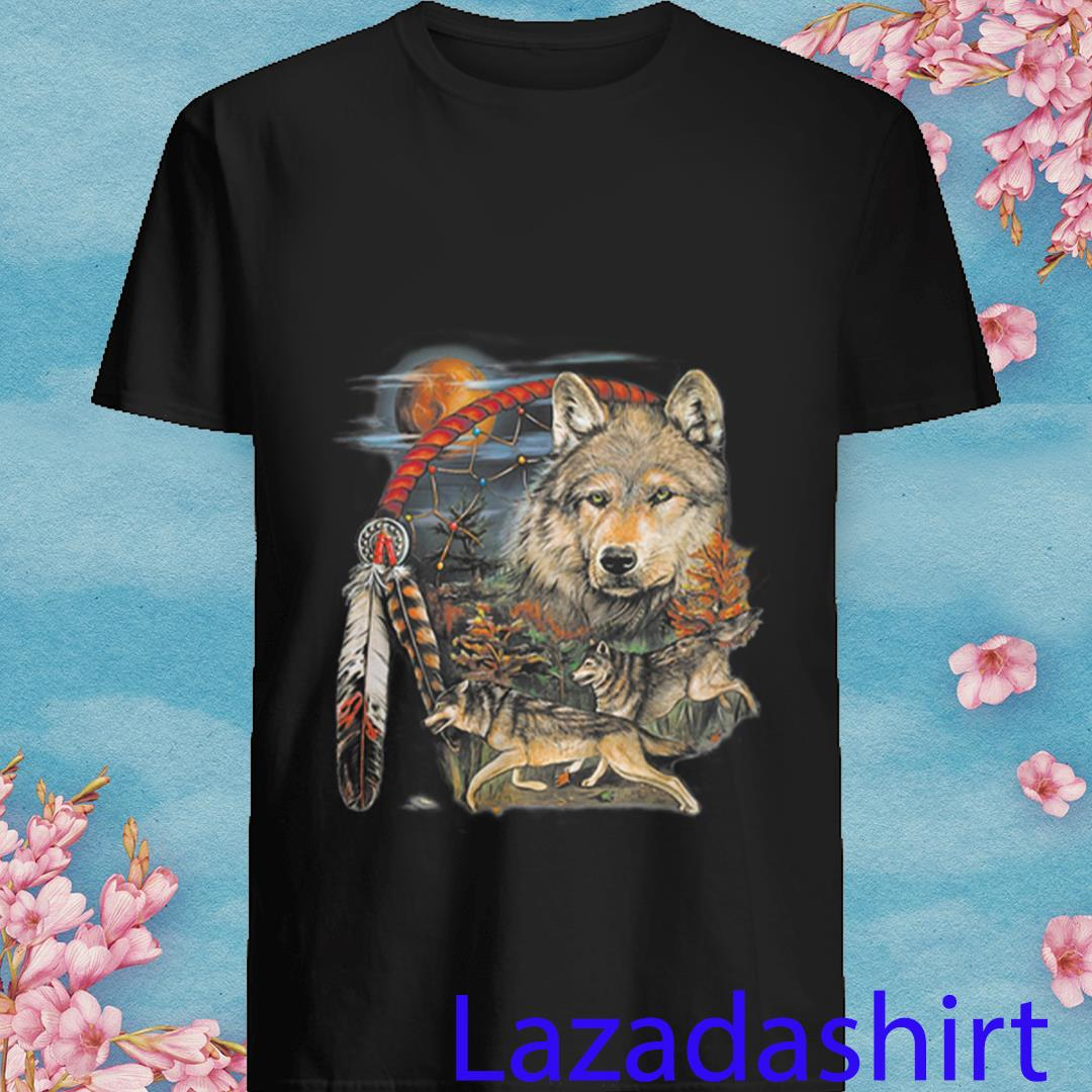 Native American Indian Dream Catcher Wolf Moon Animal Shirt