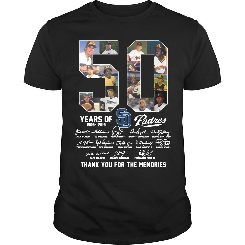 50 Years Of Sd Padres Thank You For The Memories Shirt