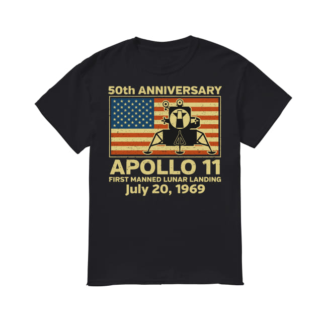 American flag apollo 11 first manned lunar landing July 20, 1969 shirt