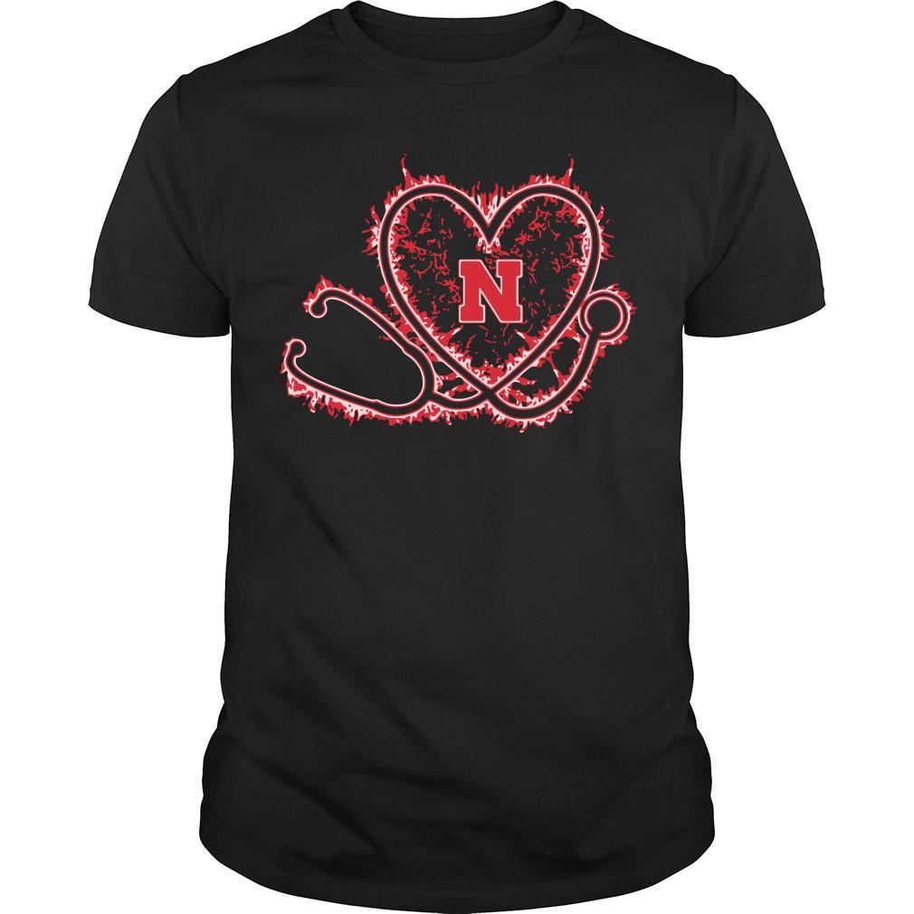 Nurse heart Nebraska Cornhuskers shirt