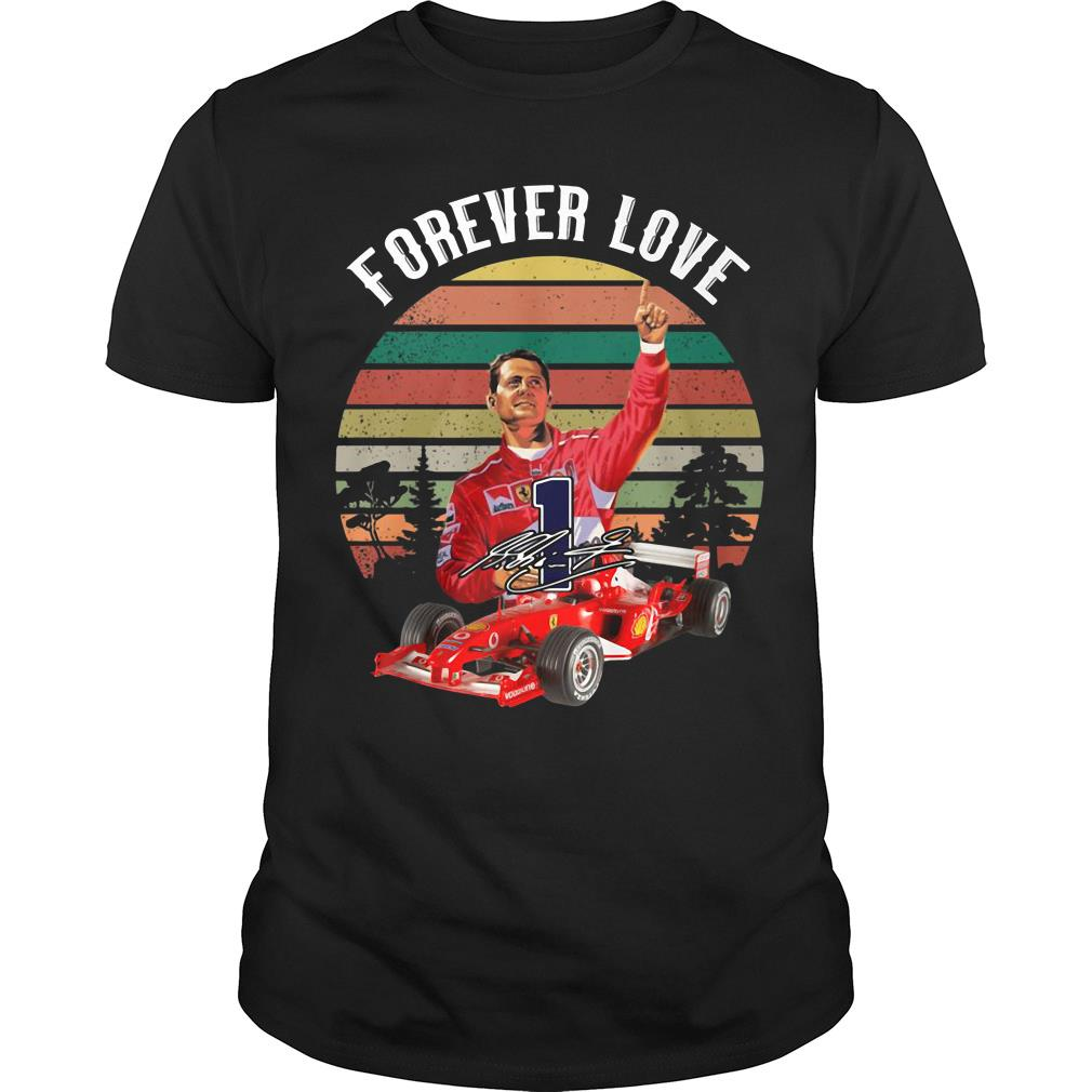 Retro sunset Forever love Michael Schumacher signature shirt