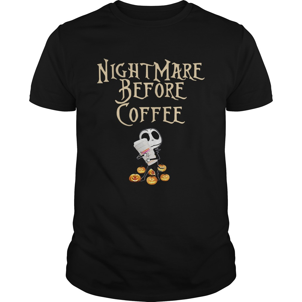 Official Jack Skellington hug Dunkin Donuts Nightmare before coffee shirt
