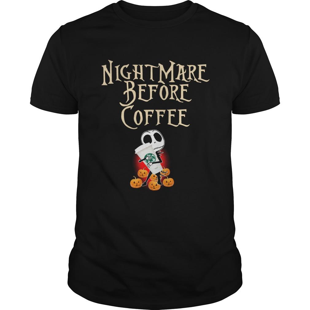 Official Nightmare Before Coffee Skellington hug Starbucks shirt