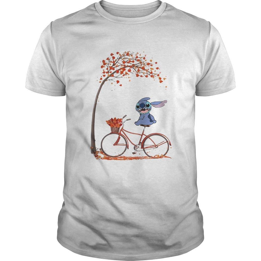 Stitch riding bicycle autumn leaf tree  Unisex