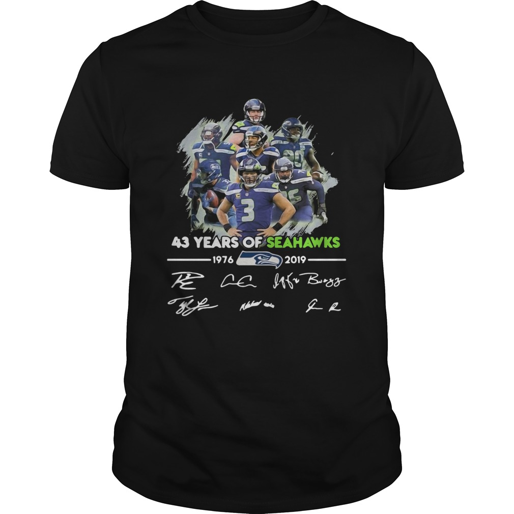 43 Years of Seattle Seahawks 19762019 signatures  Unisex