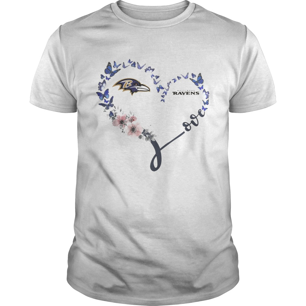 Baltimore Ravens Heart Butterfly And Flowers Shirt Unisex