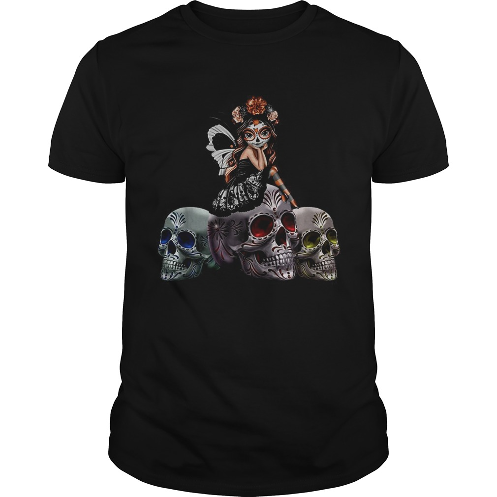 Butterfly Sit On Three Skull Spirit Of The Dearly Loved Figurine  Unisex