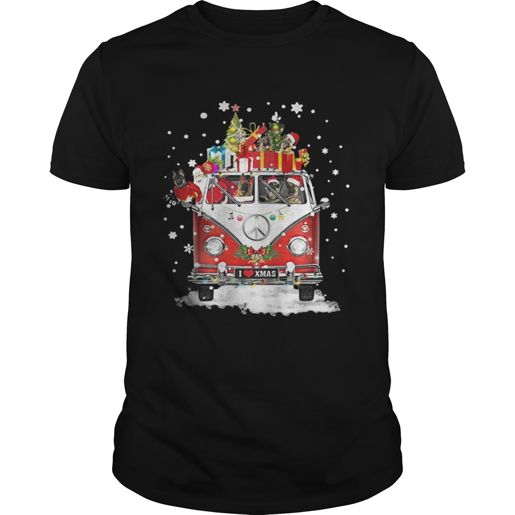 Christmas Hippie Car German Shepherd Shirt Unisex
