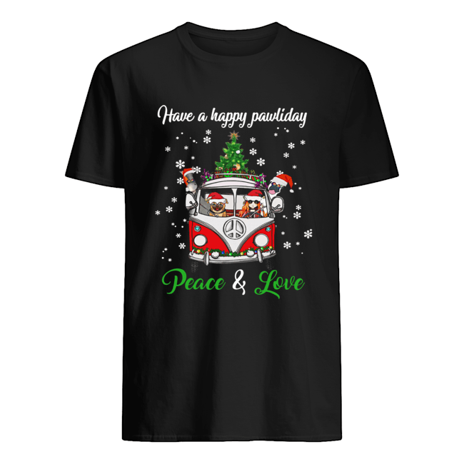 Have a happy pawlidays peace and love girl hippie and Dogs Christmas  Classic Men's T-shirt