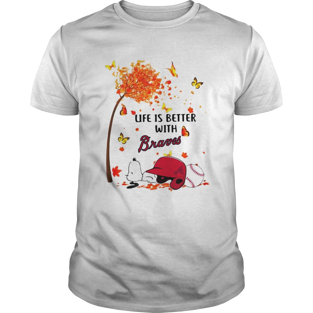 Life is better with Braves Snoopy sleeping under autumn tree  Unisex