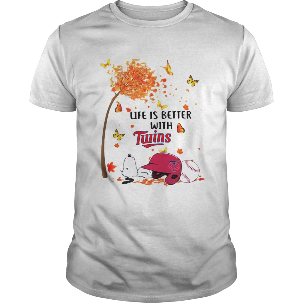 Life is better with Minnesota Twins Snoopy sleeping under autumn tree  Unisex