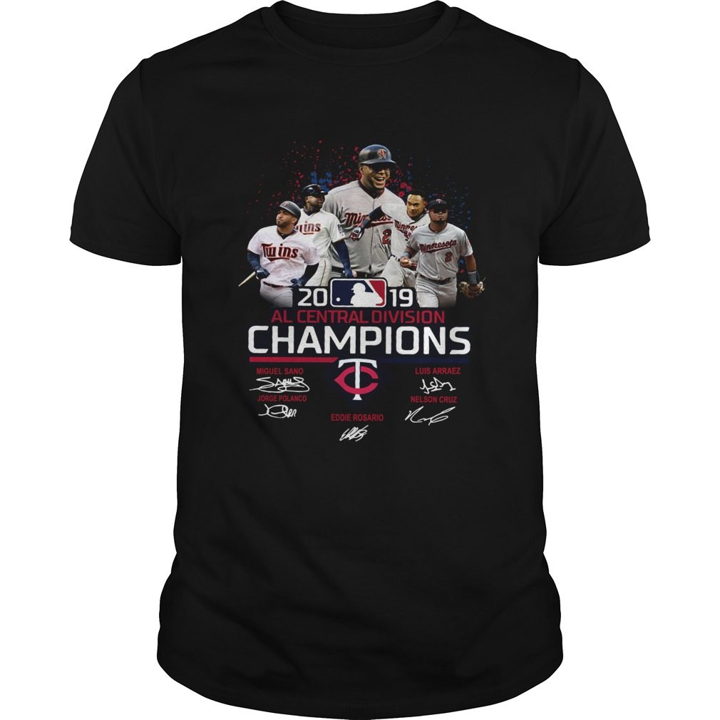 Minnesota Twins 2019 Al central division Champions signatures  Unisex