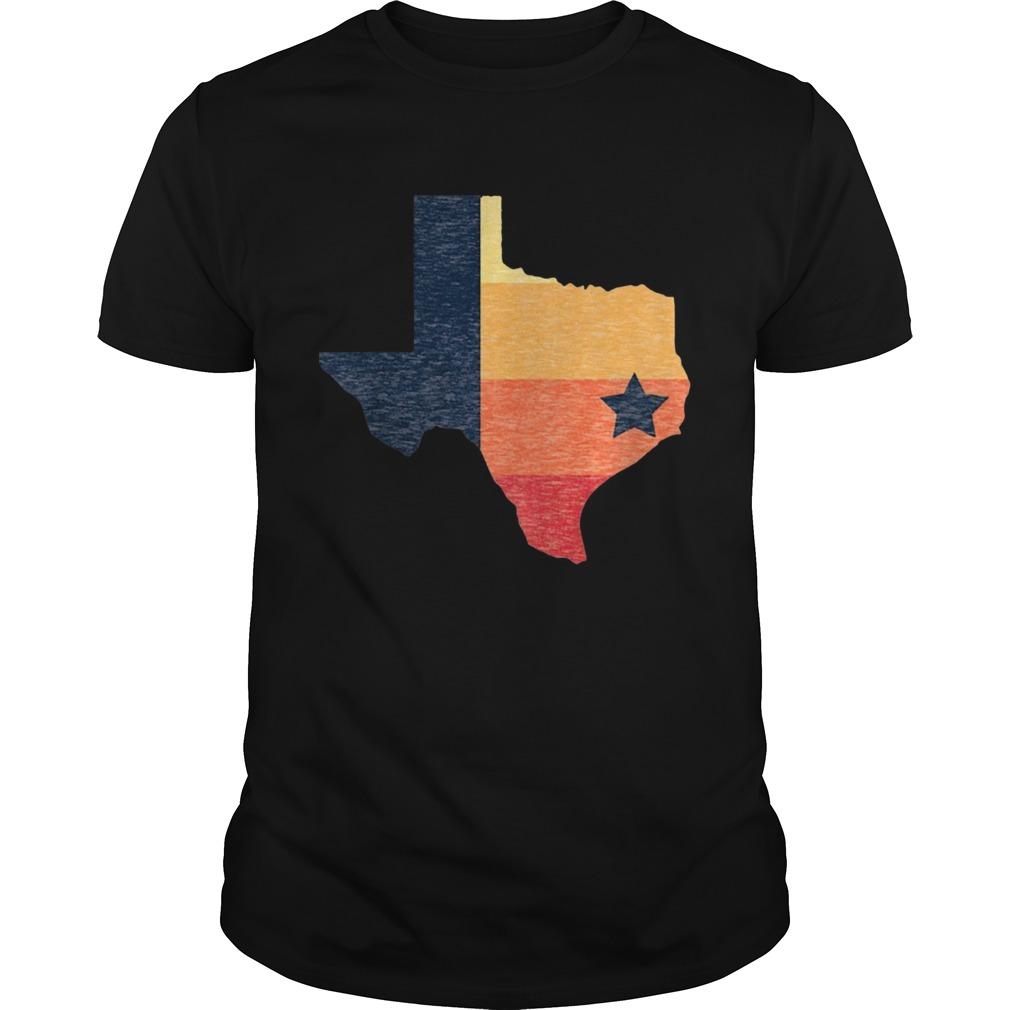 Retro Houston Baseball Colors Vintage Texas Map Shirt Unisex
