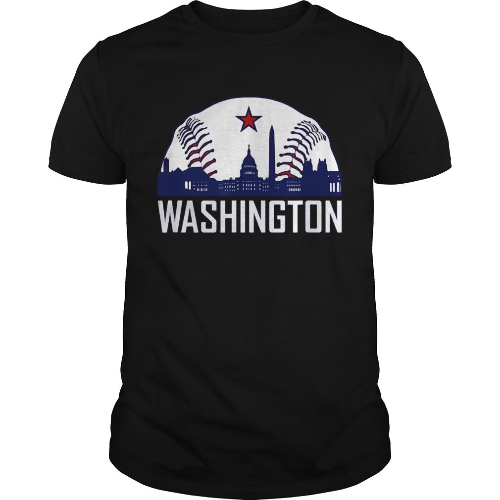 Washington DC Baseball Hometown Skyline National Vintage T Shirt Unisex