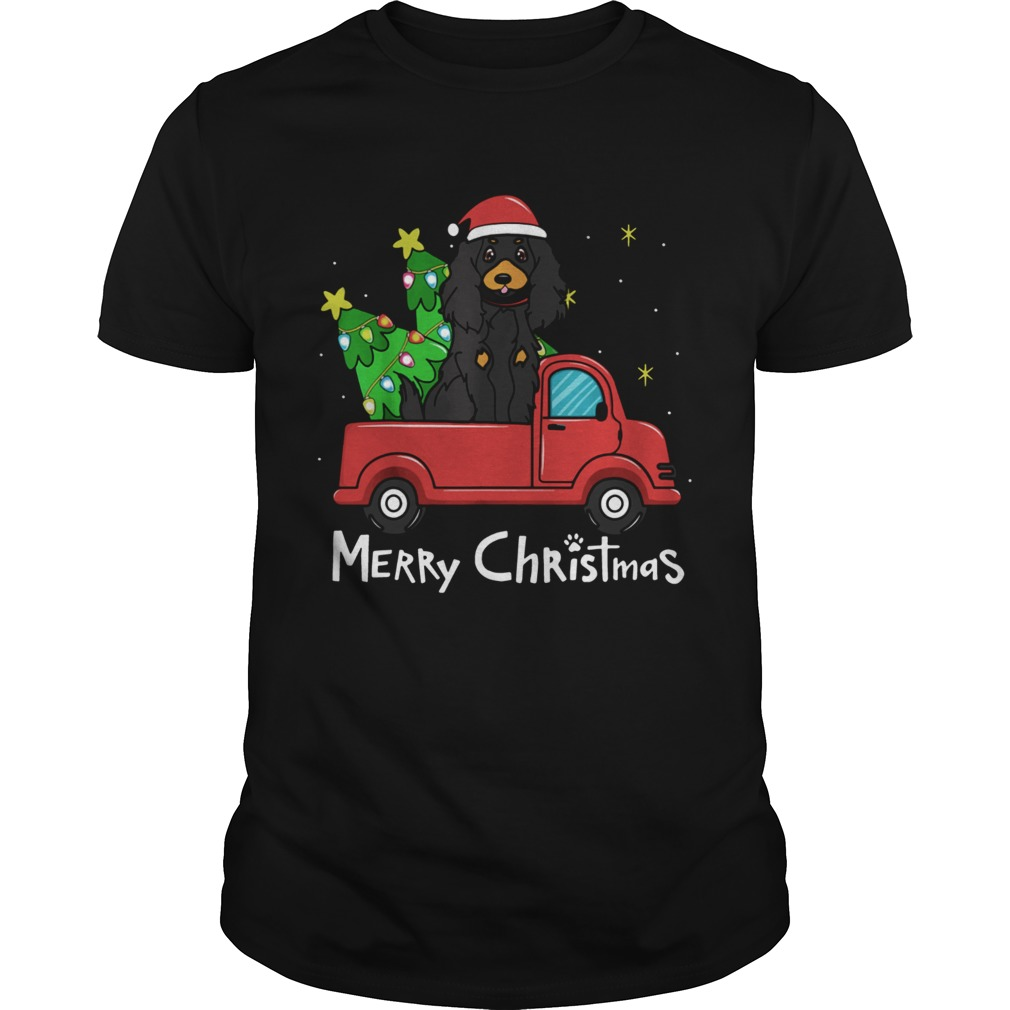 1572861785Gordon Setter Christmas Truck Tree Merry Christmas  Unisex