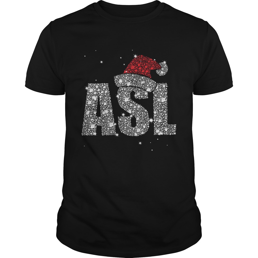 ASL American Sign Language Santa Hat Sparkle Christmas  Unisex