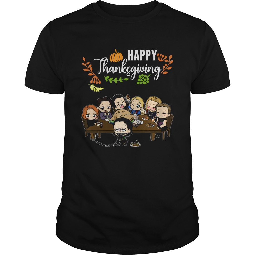 Avengers chibi characters happy thanksgiving shirt