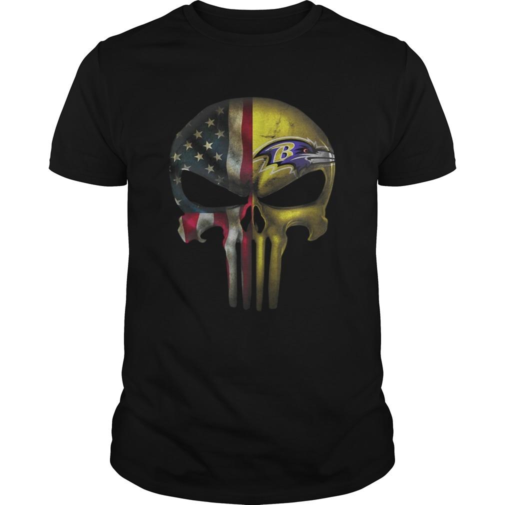 Baltimore Ravens And Flag American Veteran skull  Unisex