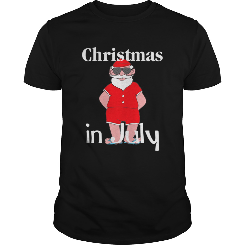 Christmas In July Funny Summer Santa Holiday shirt