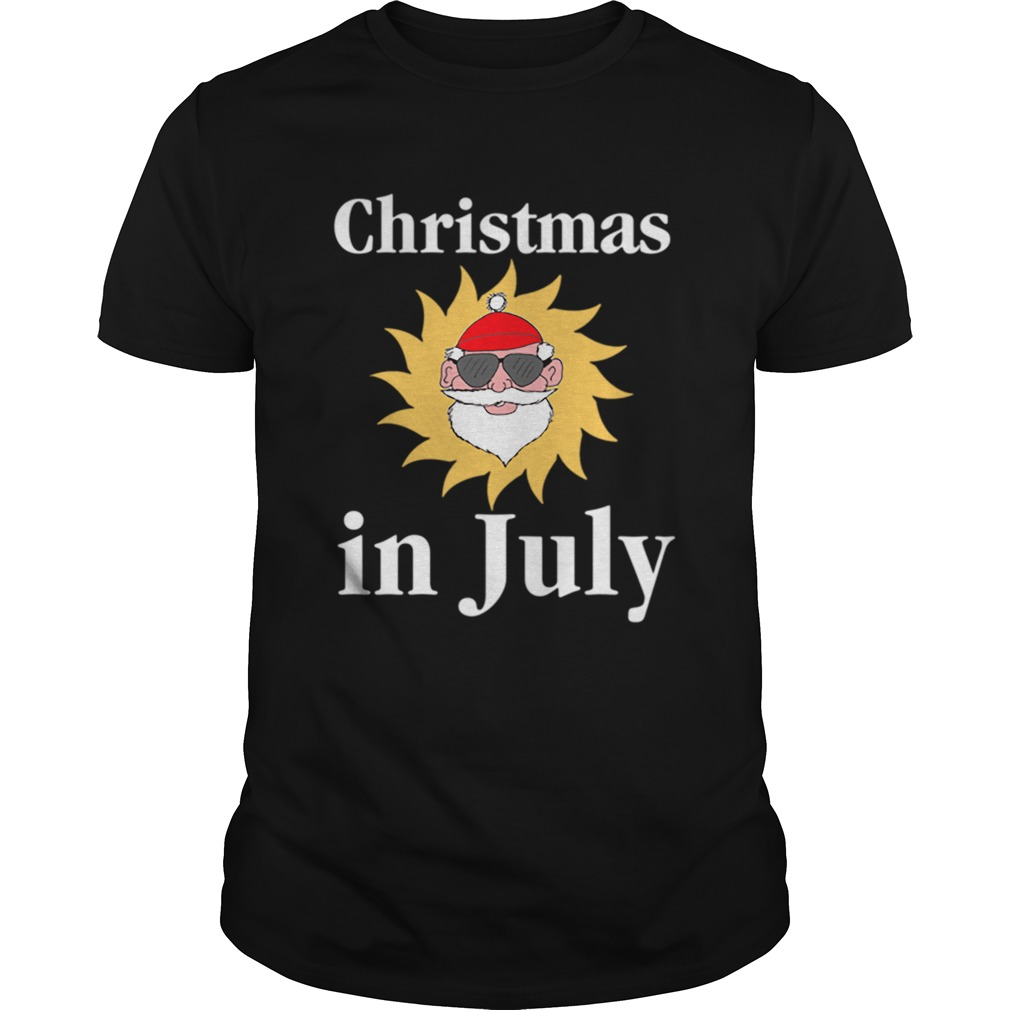 Christmas In July Funny Sunny Santa Holiday Graphic  Unisex