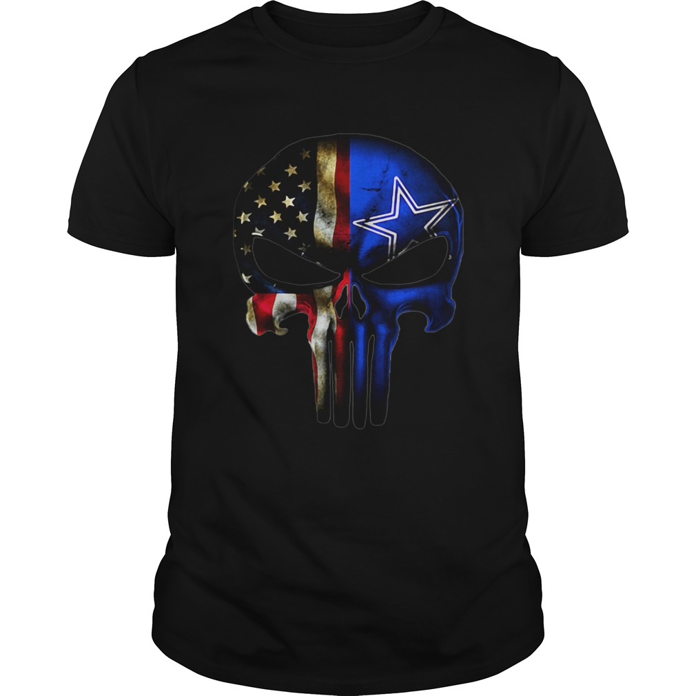 Dallas Cowboys And American Flag Veteran Skull  Unisex