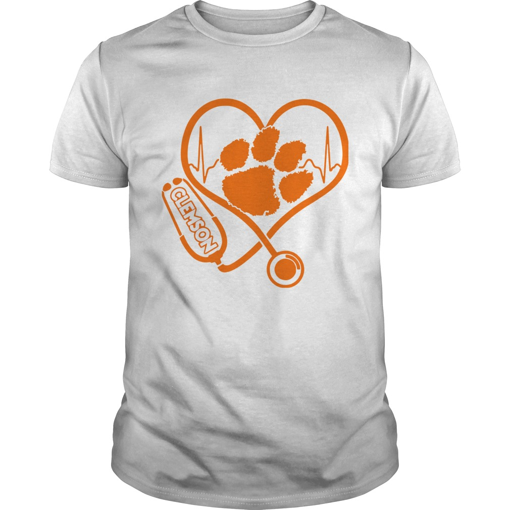 Heartbeat Nurse love Clemson Tigers  Unisex
