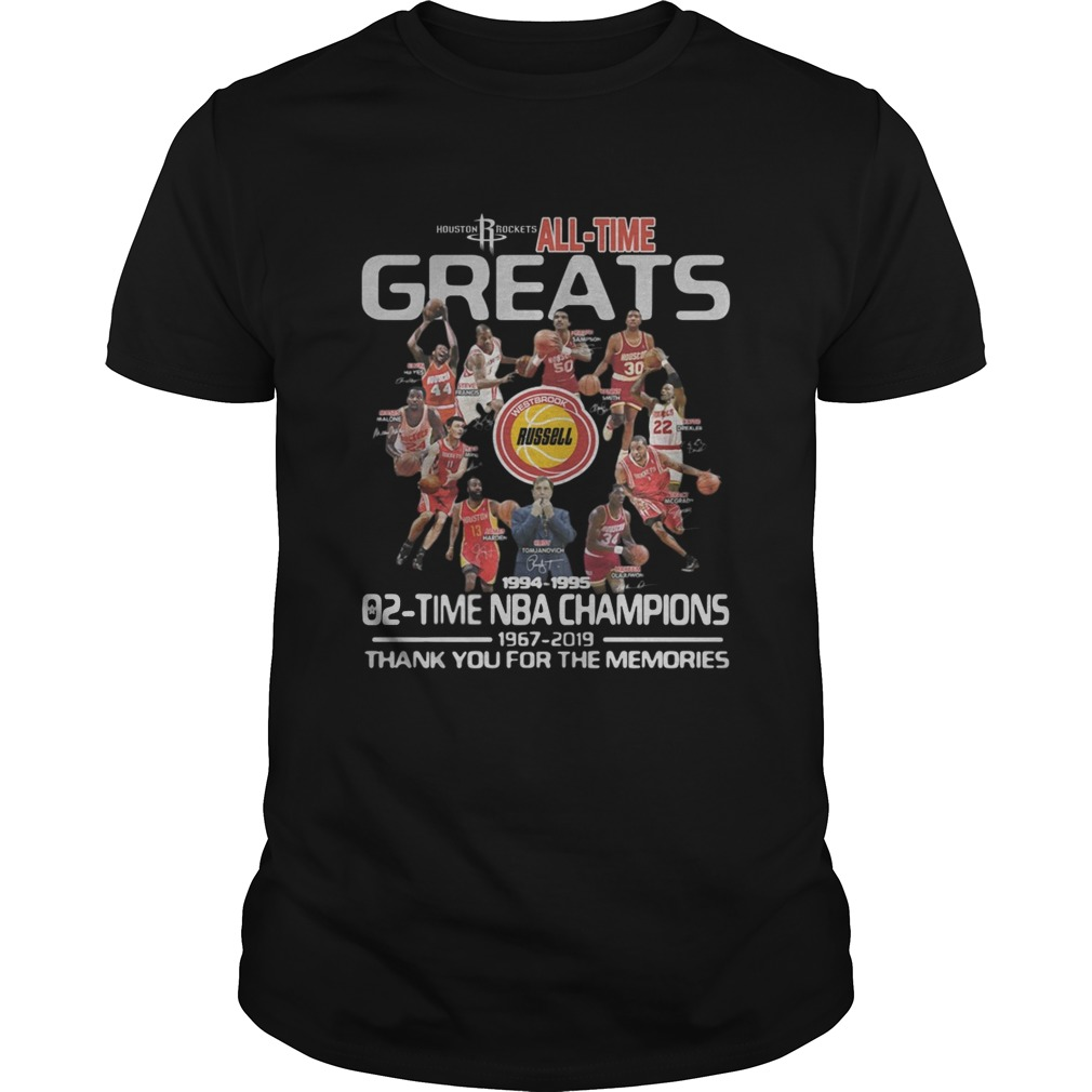 Houston Rockets All Time Greats 02 Time NBA Champions Signatures  Unisex