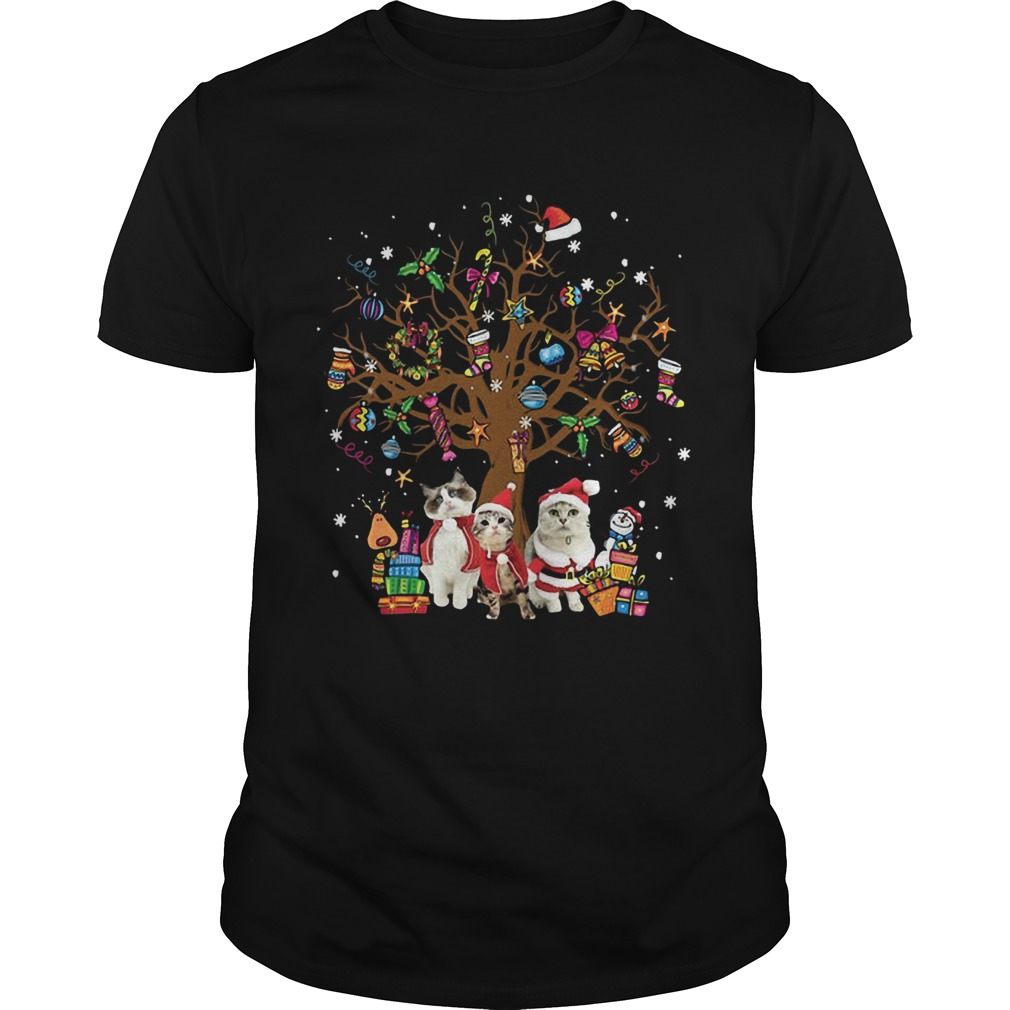 Meowy Merry Christmas Cats Christmas tree shirt