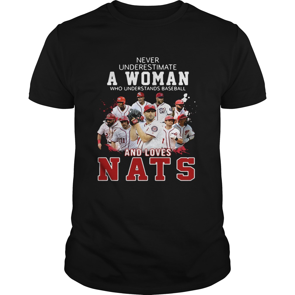 Never Underestimate A Woman Who Understands Baseball And Loves Nats Shirt Unisex