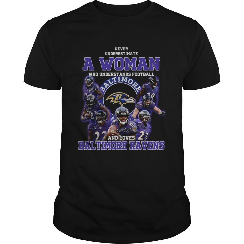 Never underestimate a woman who understands football and loves Baltimore Ravens  Unisex