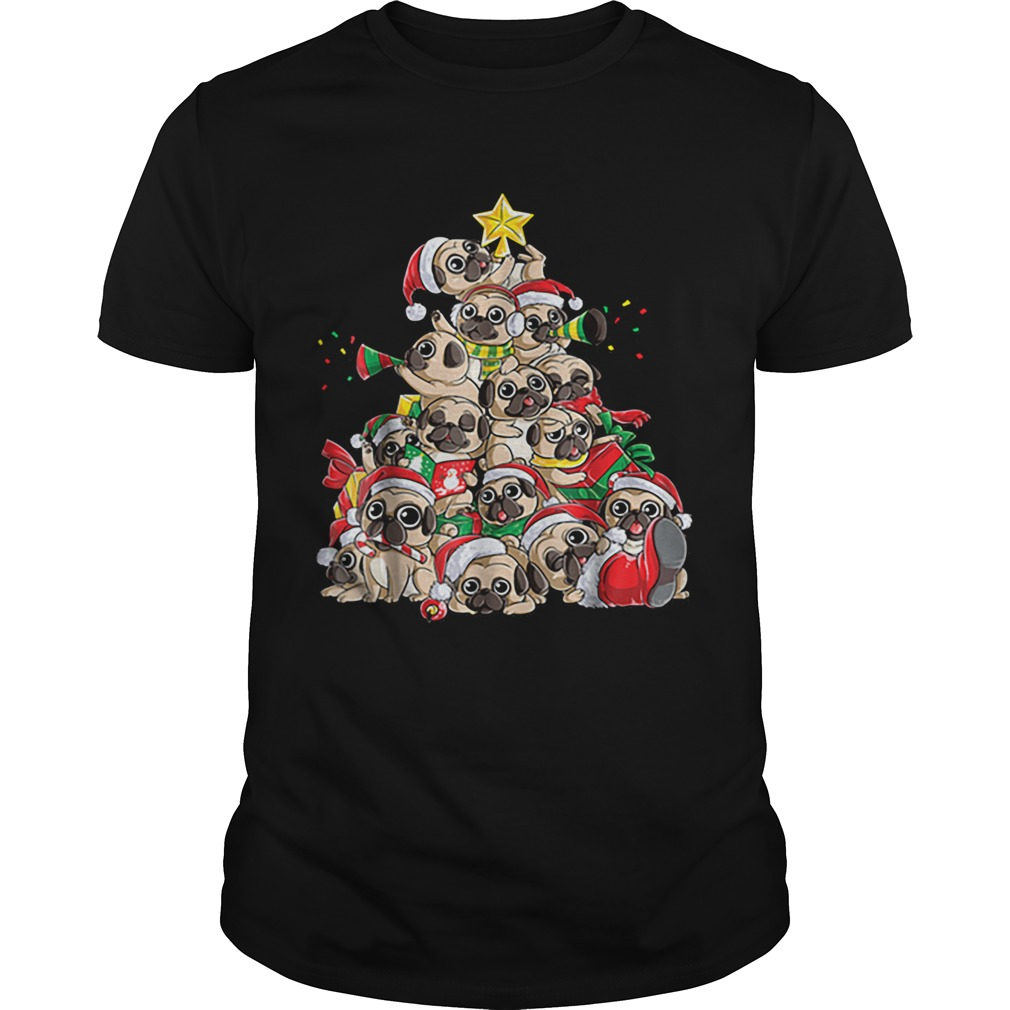 Top Pug Christmas Merry Pugmas Xmas Tree Santa Boys Gifts  Unisex