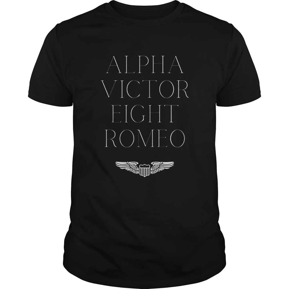 Alpha Victor Eight Romeo Pilot Plane Aviator  Unisex