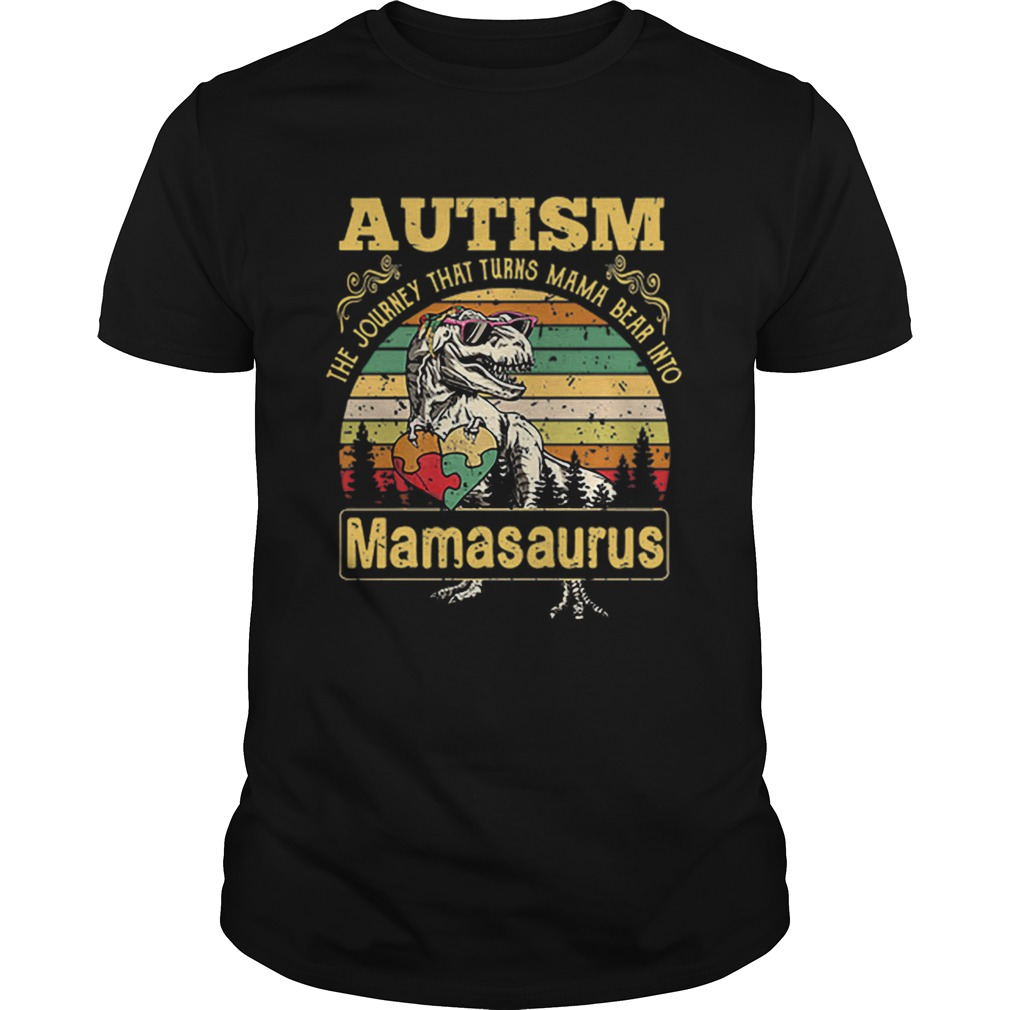 Autism The Journey That Turns Mama Bear Into Mamasaurus Vintage  Unisex
